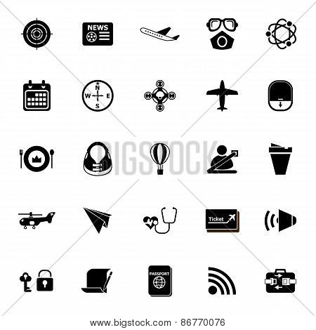 Air Transport Related Icons On White Background