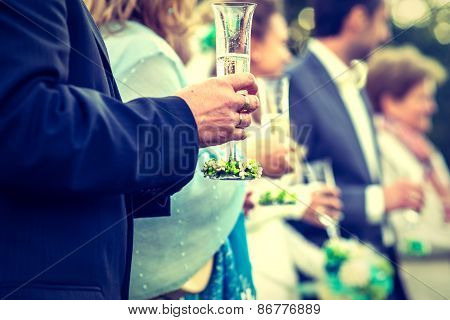 Drinkink Champagne On The Wedding Ceremony
