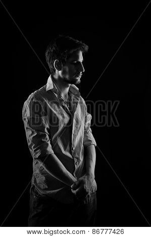 Portrait Of Shy Man