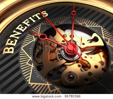 Benefits on Black-Golden Watch Face.