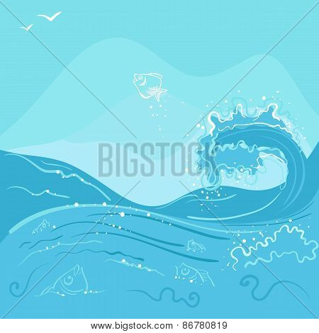 Fish jumping out of the ocean wave