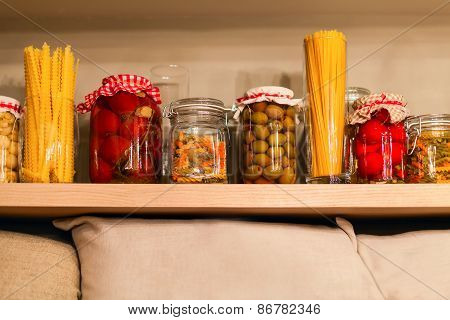 Canned Vegetables On The Shelf