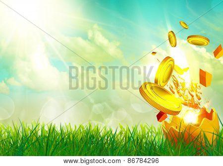 Money flying from an egg shells