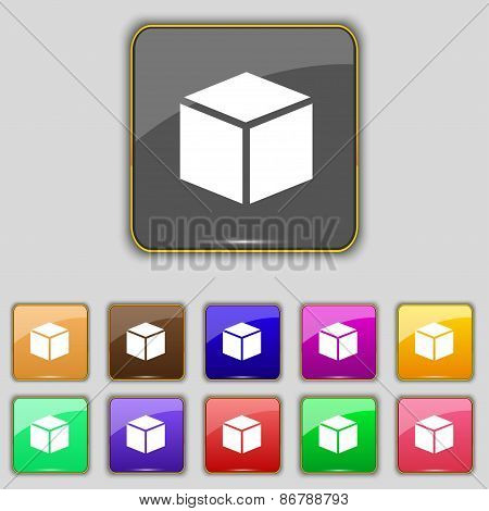 3D Cube Icon Sign. Set With Eleven Colored Buttons For Your Site. Vector
