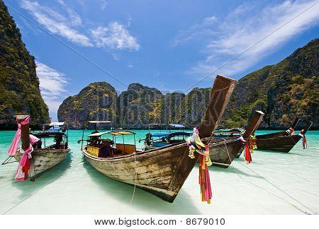 Long Tails Boat at Maya bay PhiPhi Island
