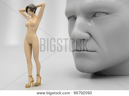 A man looks at a naked woman