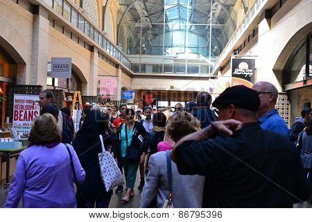 Crowd Inside Ferry Building
