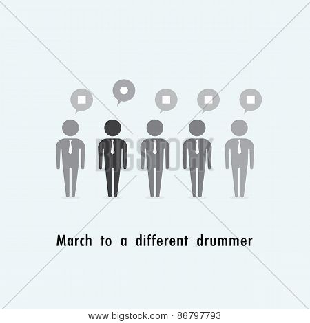 Businessman Standing Out From The Crowd. March To A Different Drummer Concept.