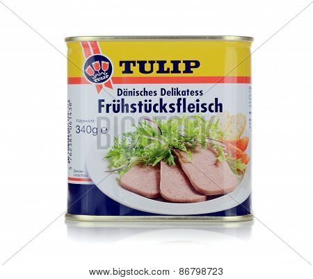 A tin of Tulip Fruestueckfleisch luncheon meat