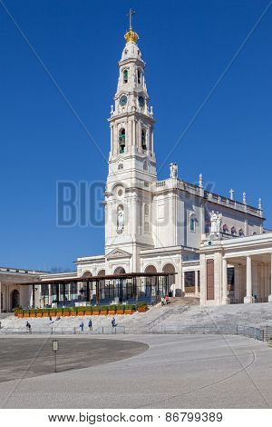 Sanctuary of Fatima, Portugal. Basilica of Nossa Senhora do Rosario in the Sanctuary of Fatima. One of the most important Marian Shrines and pilgrimage location in the world for Catholics poster