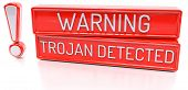 Warning Trojan Detected - 3d banner isolated on white background poster
