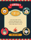 vintage hipster circus poster, background with carnival, fun fair, and vector icons  poster