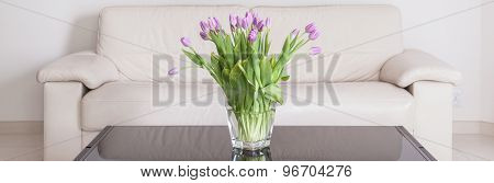 Violet Flowers On The Table