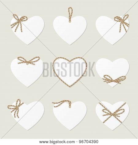 Hearts with rope ribbons and bows