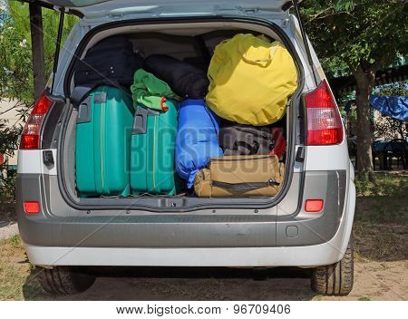 suitcases and luggage in the trunk while traveling in family poster