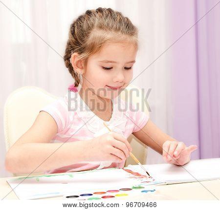 Cute Smiling Little Girl Drawing With Paint