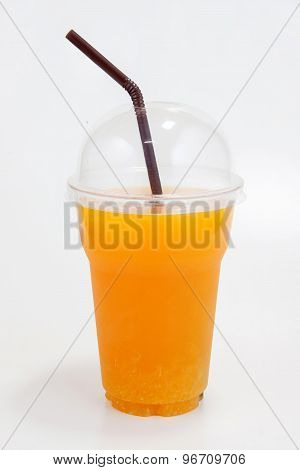 Orange Juice In Plastic Clear Cup