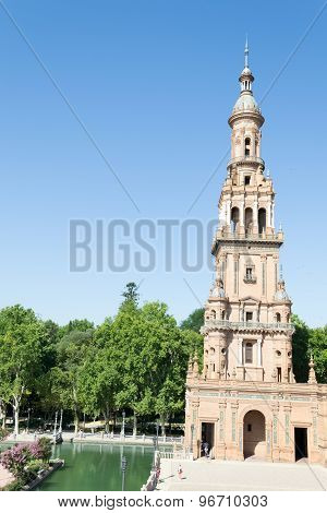 Tower At Spain Square In Seville