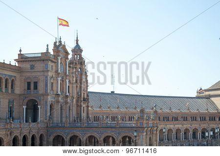 Spanish Flag At Spain Square