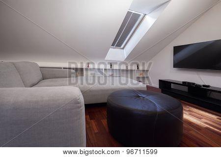 Corner Grey Sofa In Attic