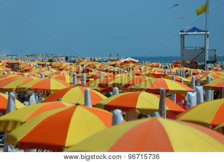 Colorful Parasol On The Beach