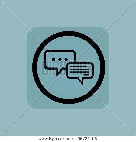 Two chat bubbles, one with dots, in circle, in square, on pale blue background poster