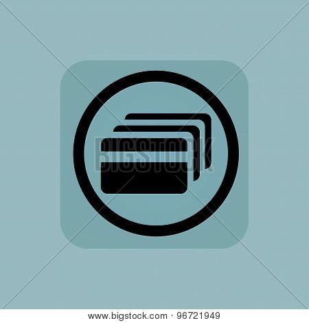 Pale blue credit card sign