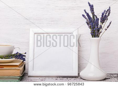 White Colored Interior, Vase With Lavender Flowers, Books And Cup Of Coffee. Mock Up.