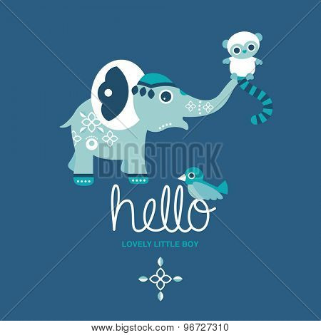 Hello little boy baby birth announcement or baby shower invitation elephant and little monkey postcard illustration design template in vector