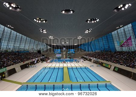 LONDON, GREAT BRITAIN - APRIL 27 2015: A general view during the FINA/NVC Diving World Series at the London Aquatics Centre