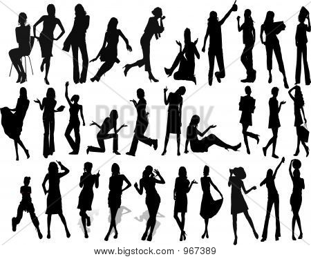 Beautyful Girls - Silhouette  Illustration