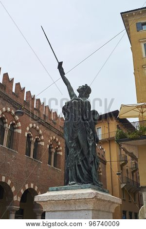 VERONA, ITALY - JULY 13: Detail of Sword of Freedom statue in Piazza delle Erbe. July 13, 2015 in Verona.