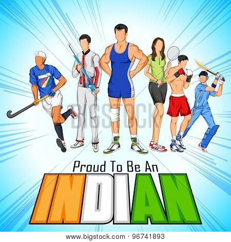 illustration of India sportsperson from different field is proud to be an Indian