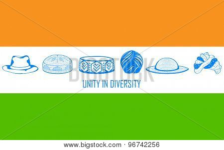 illustration of headgears of different Indian religion showing unity in diversity of India