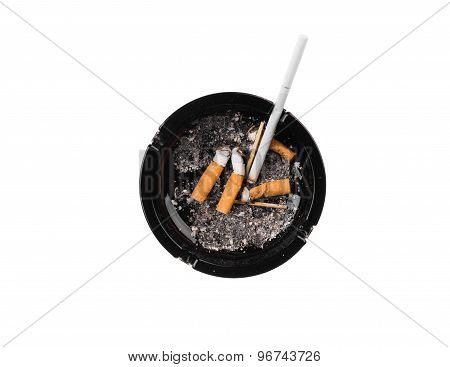 Black ashtray with cigarette butts. Isolated on a white background. poster