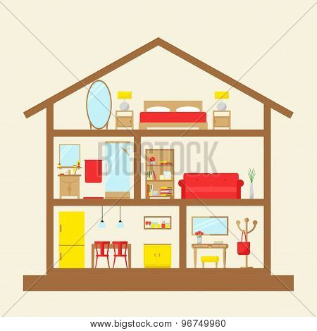 Inside the house. House in cut. Cute dollhouse with modern furniture.