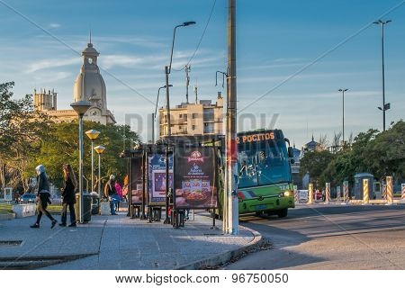 Urban View Of Montevideo At Daytime