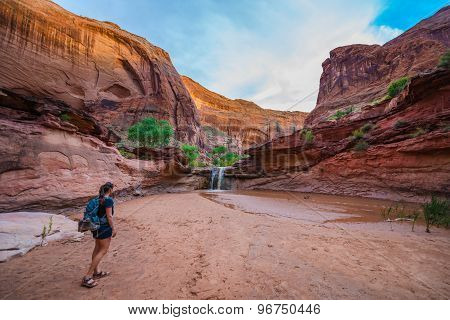 Walking towards the waterfall Girl Hiker in Coyote Gulch Escalante poster
