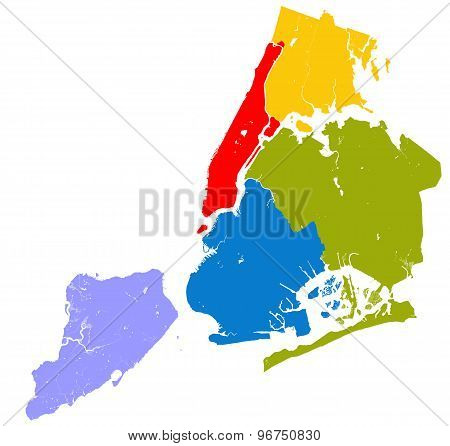 High resolution outline map of New York City with NYC boroughs. Each boroughs placed on a separate layer. poster