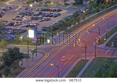 Traffic Light Trails At Dusk