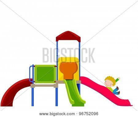 vector illustration of kid enjoying on slide