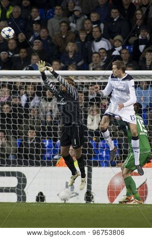 LONDON ENGLAND, November 11 2010: Werder Bremen's goalkeeper Tim Wiese and Tottenham's forward Peter Crouch in action during the UEFA Champions League match between Tottenham Hotspur and Werder Bremen