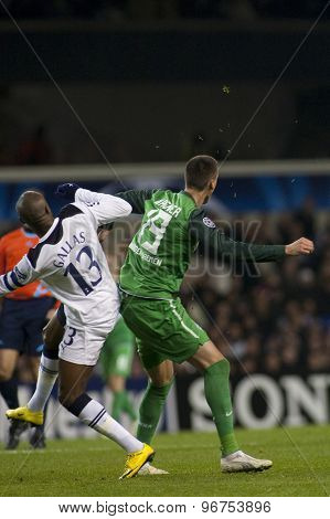LONDON ENGLAND, November 11 2010: Tottenham's defender William Gallas and Werder Bremen's Sandro Wagner in action during the UEFA Champions League match between Tottenham Hotspur FC and Werder Bremen