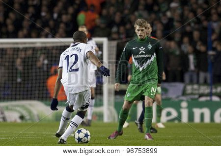 LONDON ENGLAND, November 11 2010: Tottenham's midfielder Wilson Palacios and Werder Bremen's Aaron Hunt in action during the UEFA Champions League match between Tottenham Hotspur FC and Werder Bremen