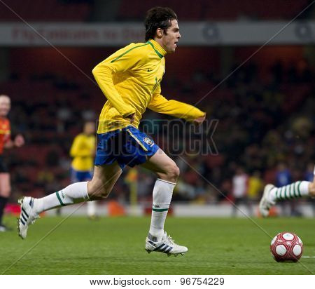 LONDON, ENGLAND. March 02 2010: Brazils Kaka during the international football friendly between Brazil and the Republic of Ireland played at the Emirates Stadium.