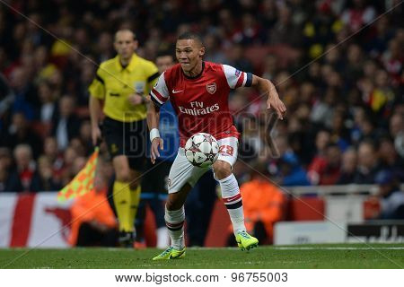 LONDON, ENGLAND - Oct 01 2013: Arsenal's defender Kieran Gibbs from England during the UEFA Champions League match between Arsenal and Napoli.