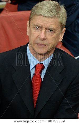 LONDON, ENGLAND - Oct 01 2013: Arsenal's manager Arsene Wenger during the UEFA Champions League match between Arsenal and Napoli.