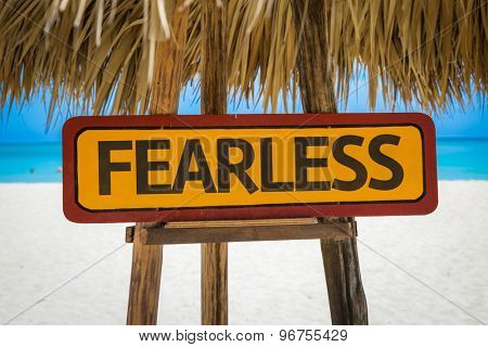Fearless sign with beach background