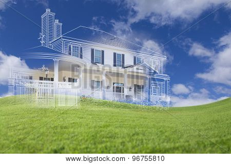 Beautiful Custom House Drawing and Ghosted House Above Grass Field.