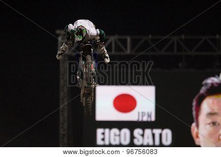 LONDON, ENGLAND. Aug 22 2009: Battersea London; Eigo Sato (JPN) competing the Red Bull X Fighters International Freestyle Motocross